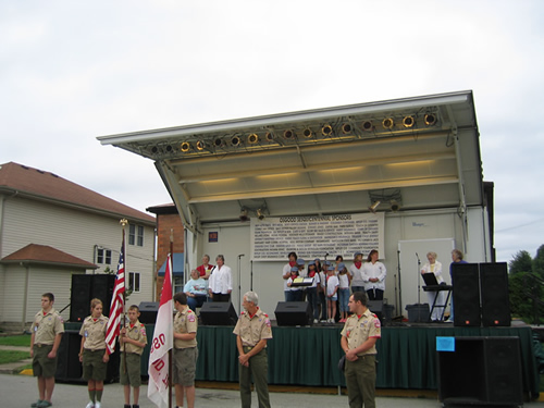 Osgood Scout Troop 638 presents the Colors for the dedication ceremony.