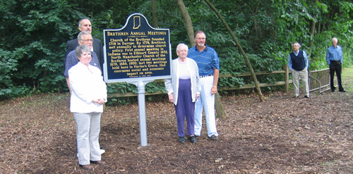 From left to right: Paula Bongen (Indiana Historical Bureau), Dr. William Eberly (marker applicant, Professor Emeritus at Manchester College), Kirk Borgmann (Pastor), Ferne Baldwin (North Manchester Historical Society), and Don Rinearson (North Manchester Town Council).