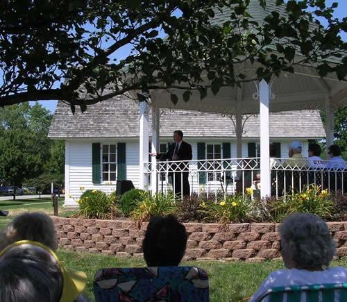 David Bennett, author of <EM>He Almost Changed the World: The Life and Times of Thomas Riley Marshall </EM>spoke at the dedication.