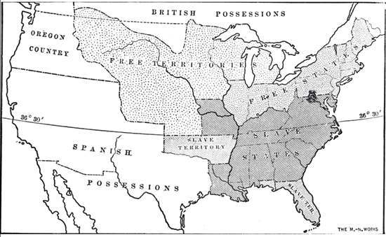 slave and free areas after the missouri compromise 1815 1825 the missouri compromise 1820 admitted missouri as a slave state and maine as a non slave