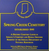 Spring Creek Cemetery Heritage Sign