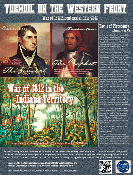 Indiana Archives Month Poster - War of 1812 Bicentennial: 1812-2012