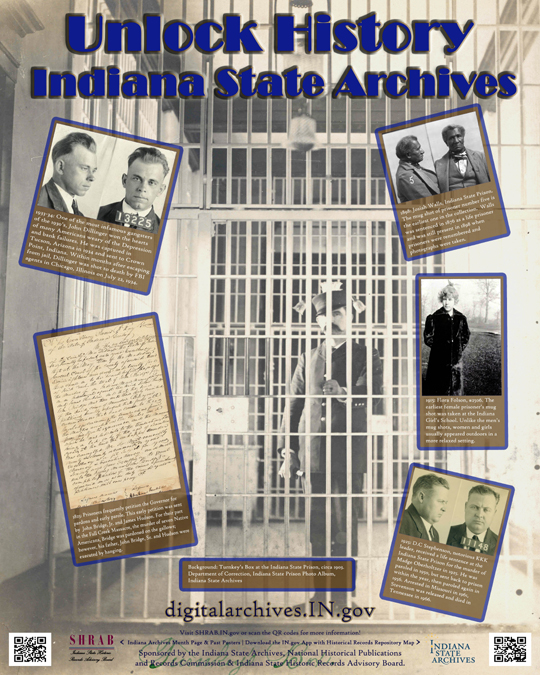 Indiana Archives Month poster - Unlock History (images of correctional records at the Indiana State Archives)