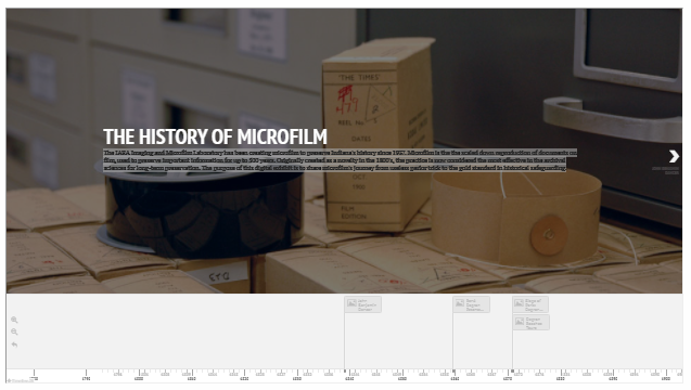 Thumbnail image of slideshow/timeline feature: At the top, an image of boxes and microfilm reels with the text THE HISTORY OF MICROFILM followed by text rendered illegible due to the reduced size of the thumbnail. Below that image, a sliding left/right timeline with visible dates extending from 1796 to 1881.
