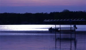 Bass Lake at sunset. Image courtesy of Starke County Chamber of Commerce.