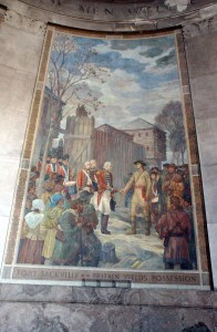 This mural shows the formal surrender of Fort Sackville by British Lt. Governor Henry Hamilton to George Rogers Clark on February 25, 1779.