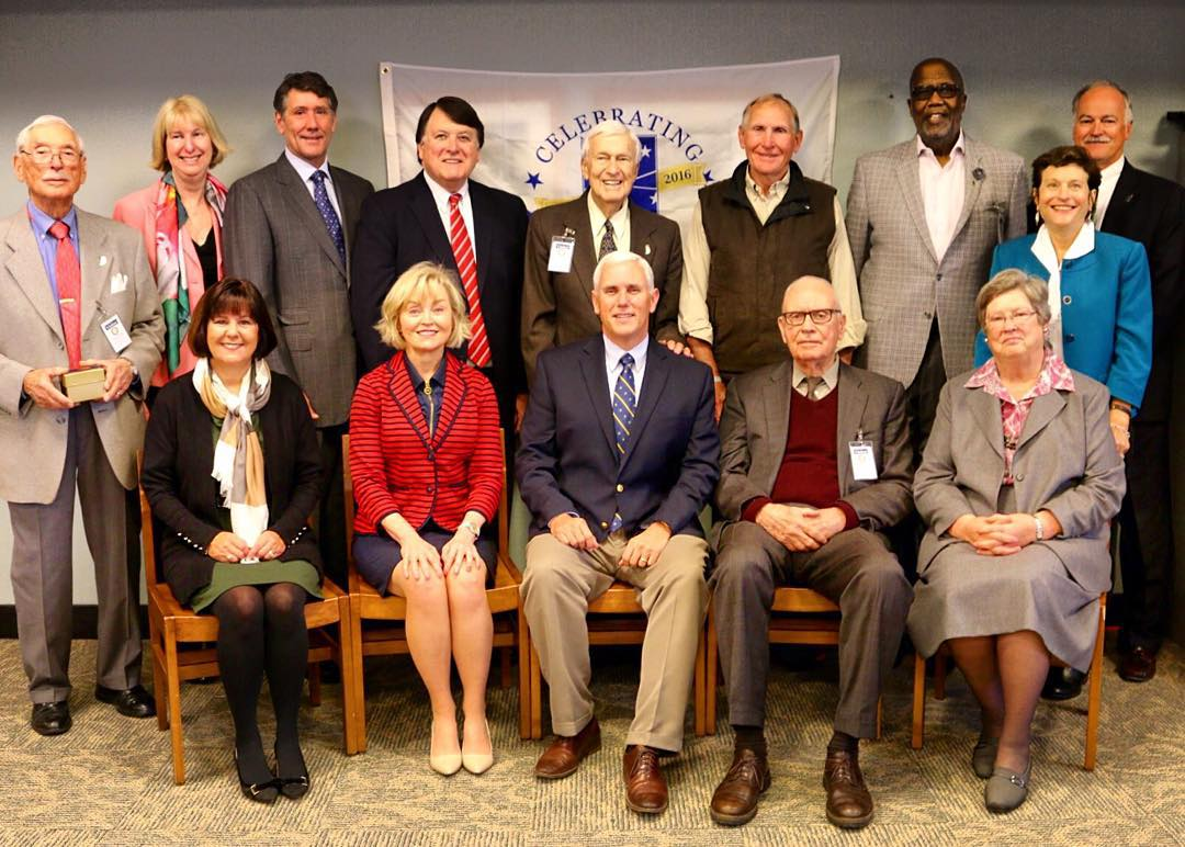 Commission Members with Gov. Pence