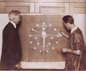 "Photo excerpted from Perry, Rachel Berenson. ""Paul Hadley (left): Artist and Designer of the Indiana Flag"" and Herron art student"" (right) circa 1923. Traces of Indiana and Midwestern History. 15(1), 20-29 (2003)."