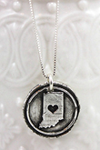 Indiana Fine Silver Wax Seal Pendant Necklace