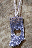 Indiana Heart Pendant Necklace with Hammered Texture