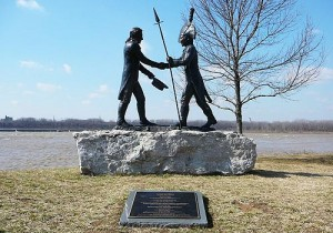 Statue of Lewis and Clark on the banks of the Ohio River, Clarksville, IN.
