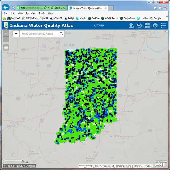 Indiana State Map With Cities And Towns.Idem Indiana Water Quality Atlas