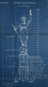 George T. Brewster's blueprint of the Victory sculpture. Courtesy Indiana State Archives.