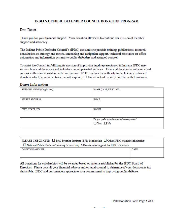 IPDC Donation Form