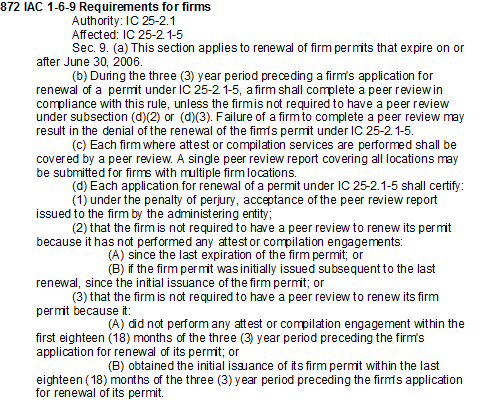 872 IAC 1-6-9 Requirements for Firms